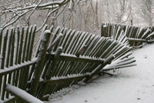 Photo of a fence damaged by winter storms