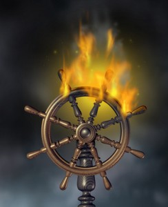 Photo of a ships wheel on fire