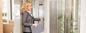 Graphic showing a lady outside of a lift